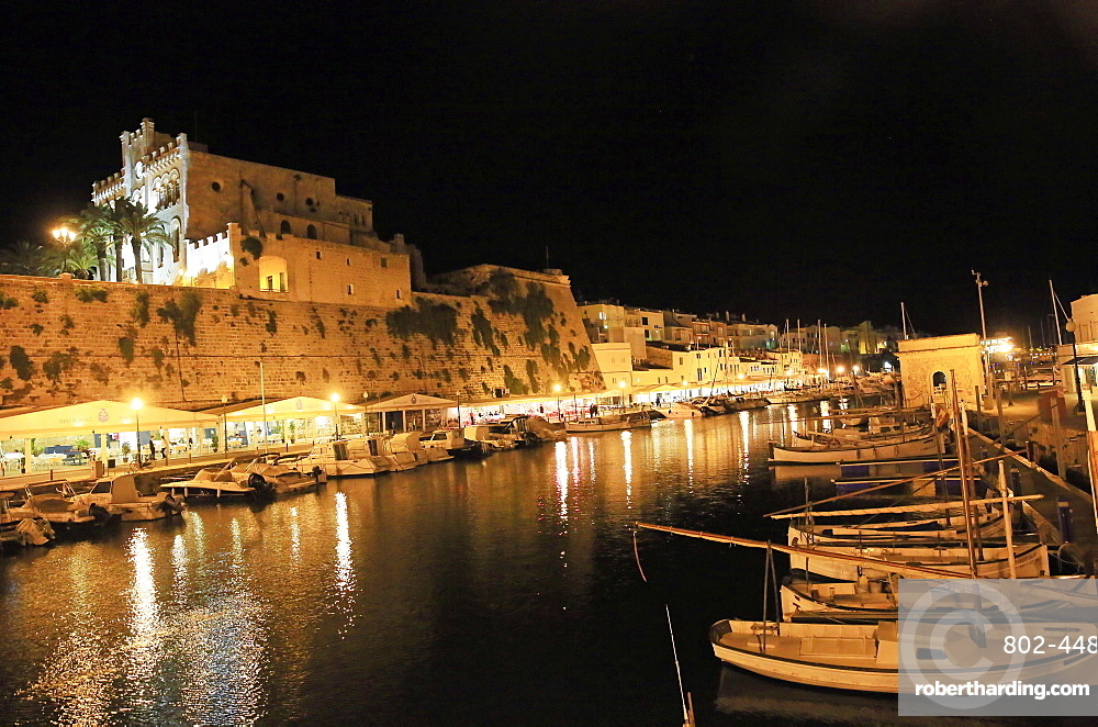 Ciutadella by night, Menorca, Balearic Islands, Spain, Mediterranean, Europe