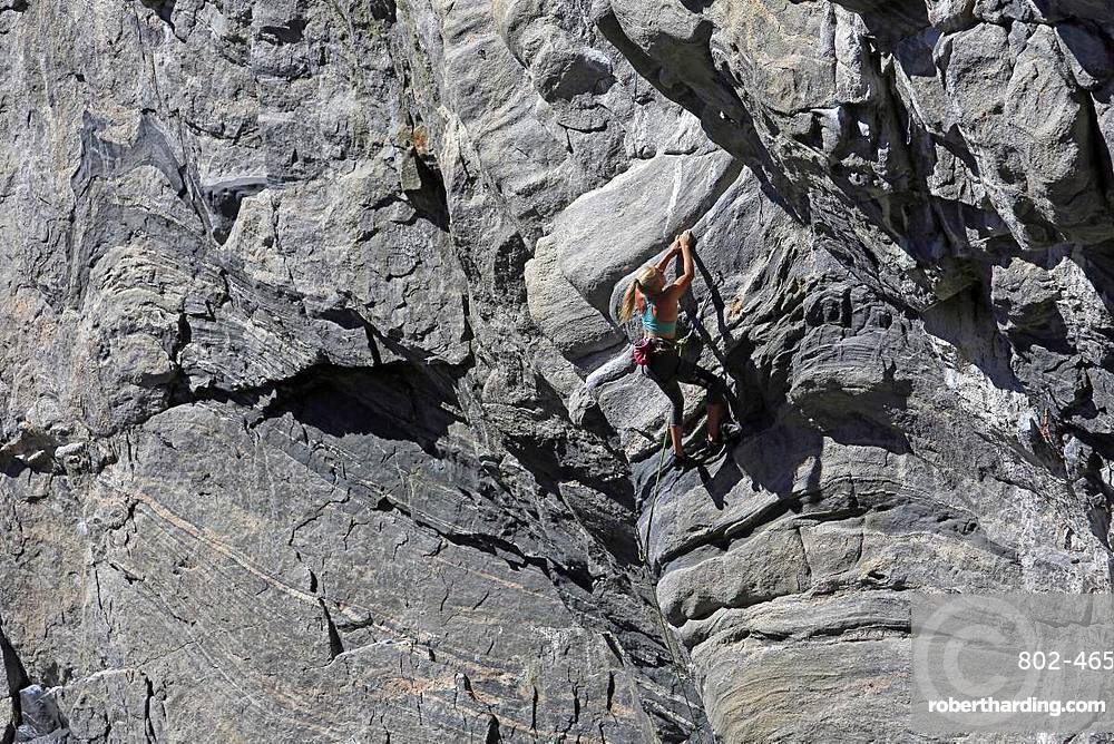 Rock climber in action at Flatanger, Trondelag, Norway, Scandinavia, Europe