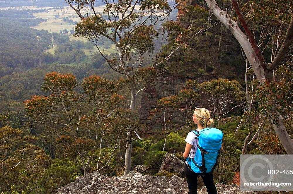 A woman hiking in the Blue Mountains, New South Wales, Australia, Pacific
