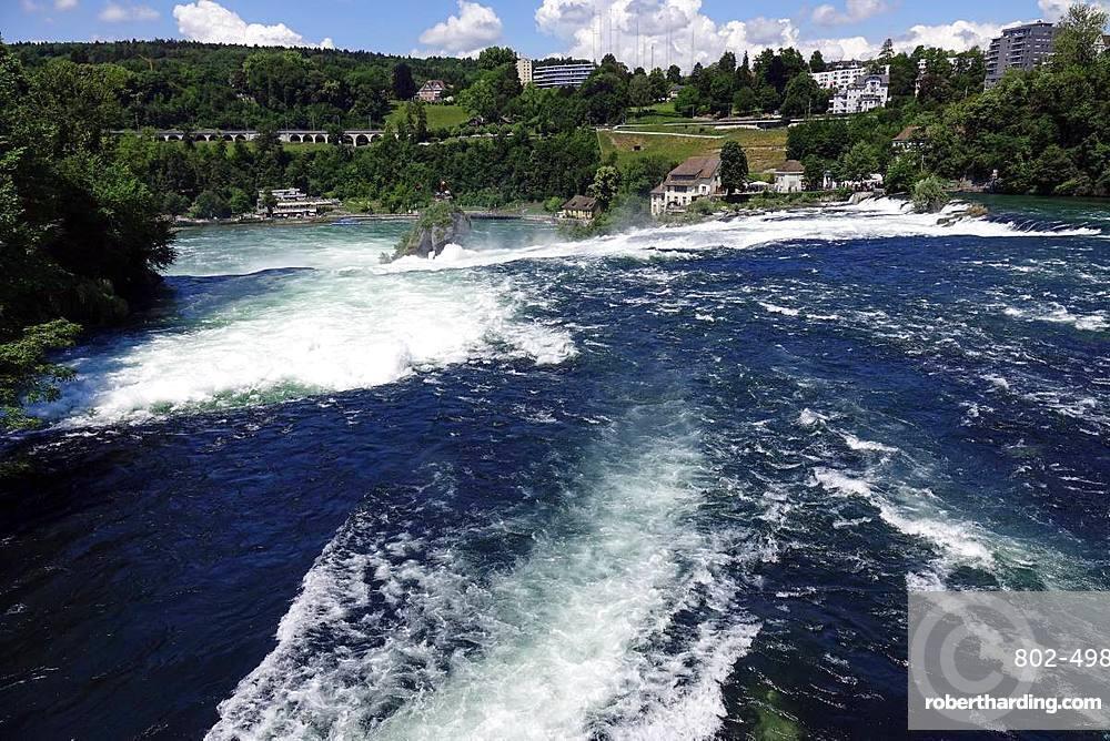 White water on the River Rhine at Rheinfall (Rhine Falls), near Schauffhausen, Switzerland, Europe