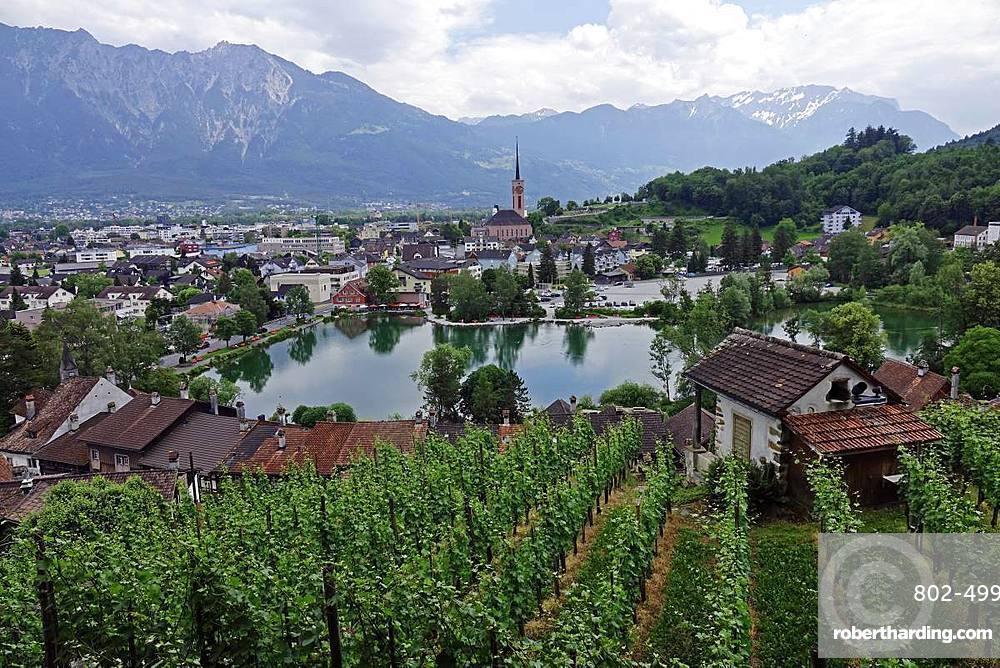 View across Werdenberg and the Werdenbergersee, St. Gallen, Switzerland, Europe