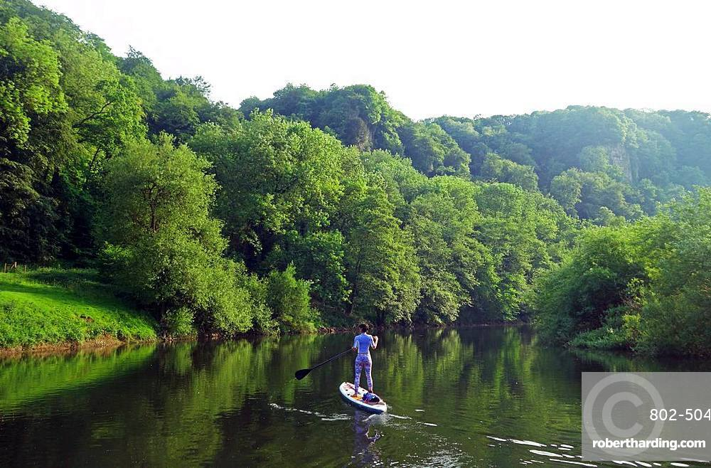 Paddle boarder deep in the Wye Valley Gorge, River Wye, Monmouthshire, Wales, United Kingdom, Europe