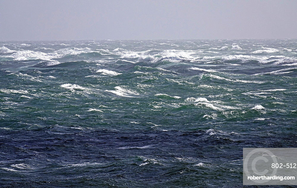 Portland tide race in a Force 8 gale off Portland Bill, Dorset, England, United Kingdom, Europe