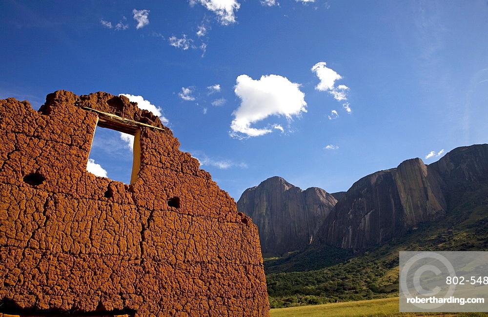 Adobe brick building, Tsaranoro Massif, southern Madagascar, Africa