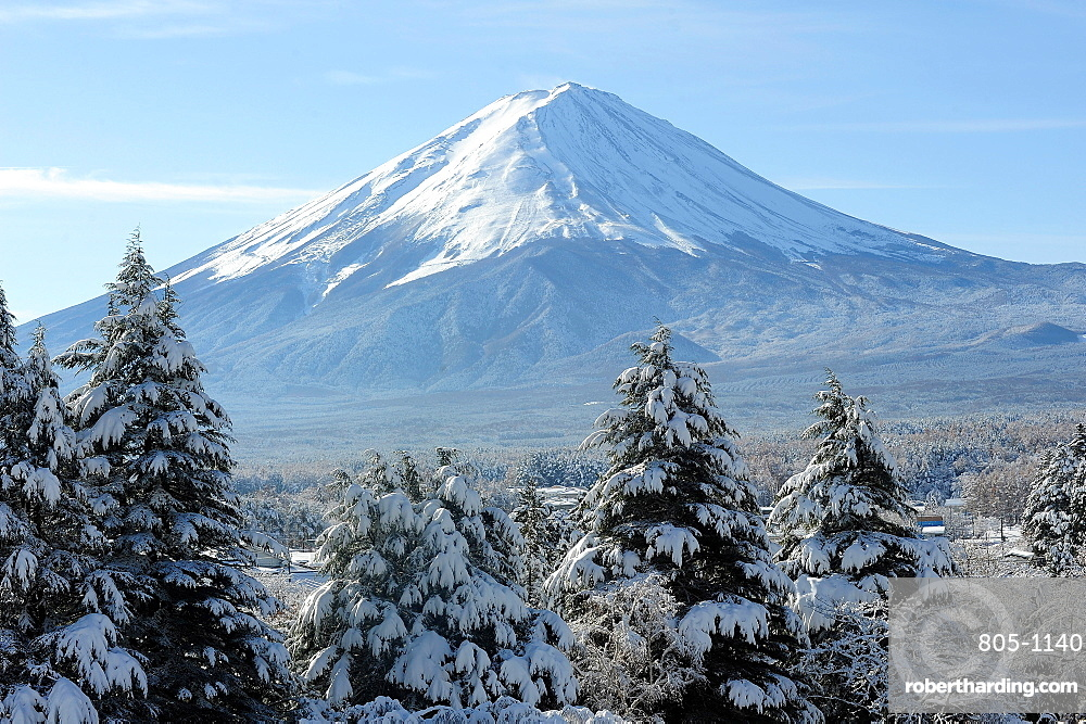 View of Mount Fuji, UNESCO World Heritage Site, in the early morning after a heavy fall of snow, Fujikawaguchiko, Japan, Asia