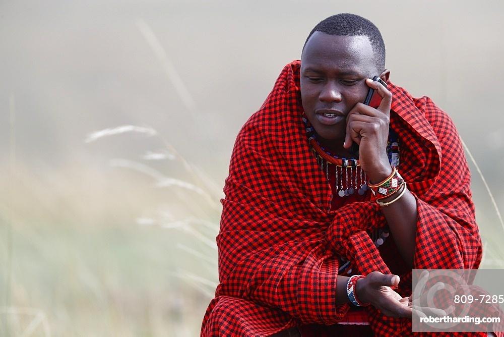 A Masai man talking on a mobile phone in the African savanna, Masai Mara Game Reserve. Kenya, East Africa, Africa