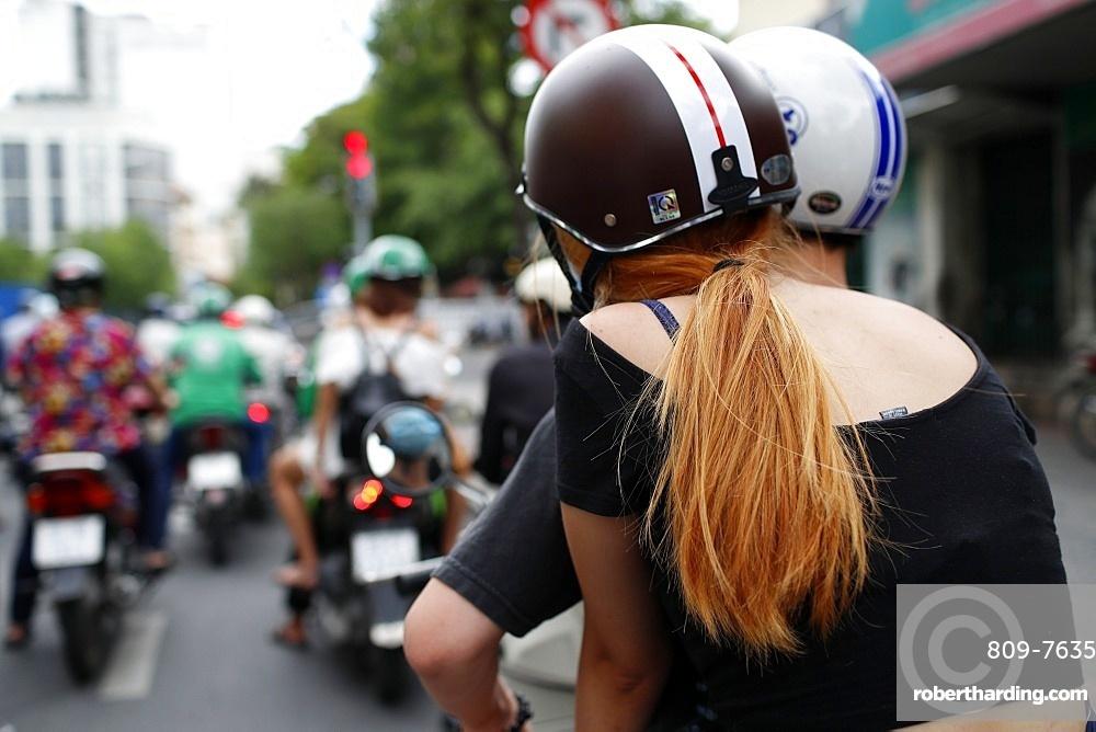 Heavy traffic, motorbikes on the street, Ho Chi Minh City, Vietnam, Indochina, Southeast Asia, Asia
