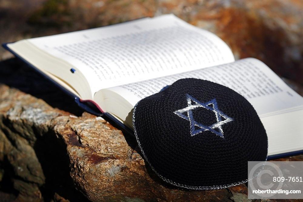 Torah and Kippah, two Jewish symbols, France, Europe