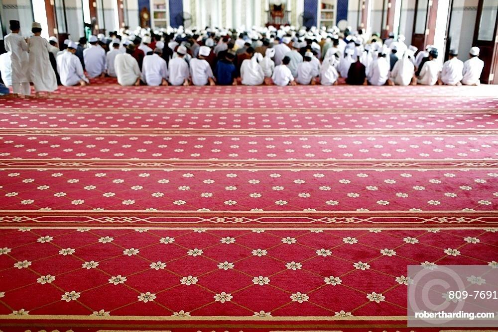 Masjid Ar-Rohmah Mosque, men at the Friday prayer (salat), Chau Doc, Vietnam, Indochina, Southeast Asia, Asia