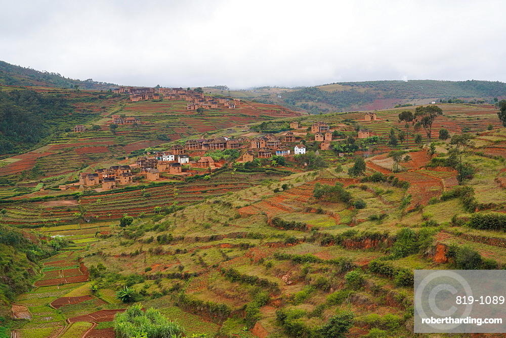 Mud houses village on terrace fields, Antsirabe, Central Madagascar