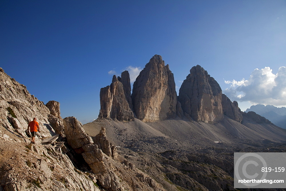 Hiking in front of Tre Cime di Lavaredo, Dolomites, eastern Alps, South Tyrol, Bolzano province, Italy, Europe