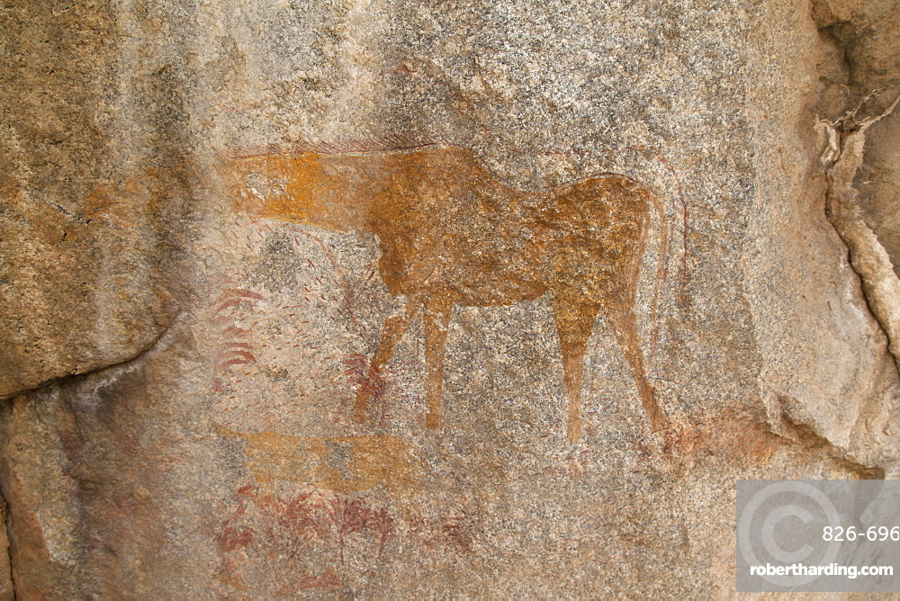 Ancient rock art at Matobo National Park in Zimbabwe. The painting depicts an animal.