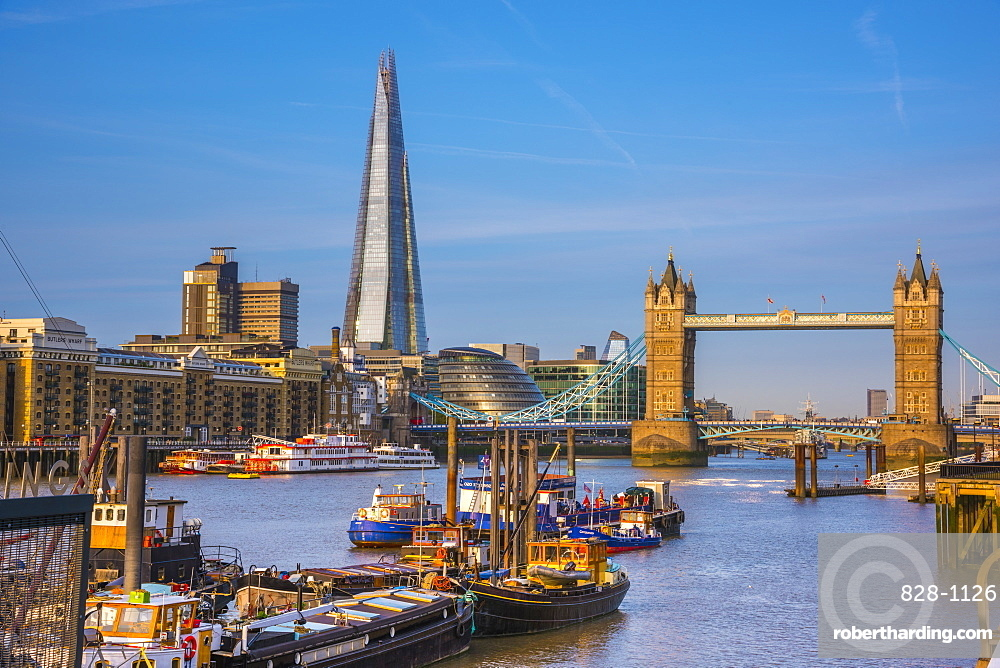 Tower Bridge over River Thames and The Shard, London, England, United Kingdom, Europe