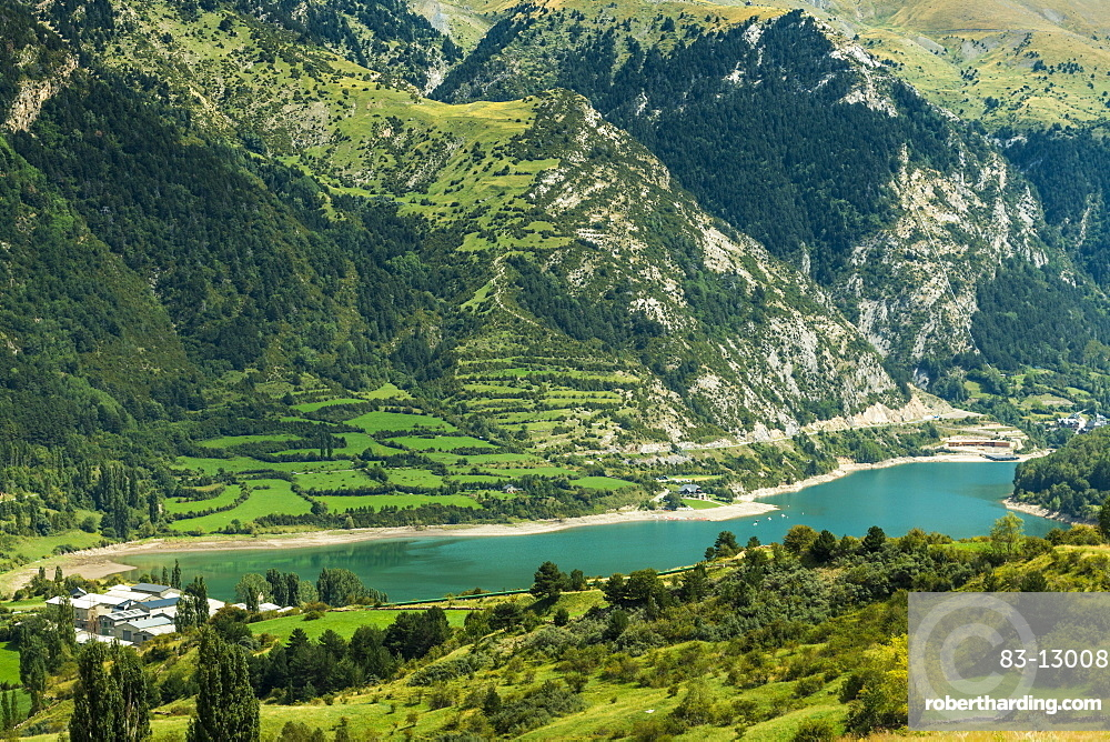 Lake Lanuza reservoir in the scenic upper Tena Valley of the Aragon Pyrenees, Lanuza, Sallent de Gallego, Huesca Province, Spain, Europe