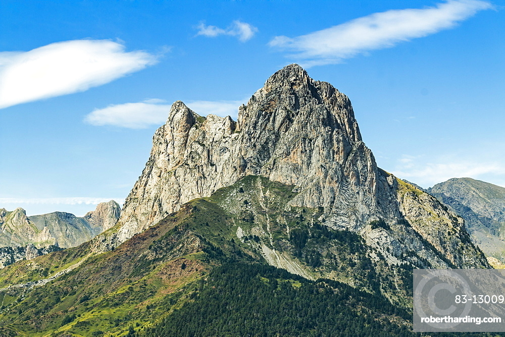 The 2341m limestone peak Pena Foratata, a great landmark in scenic upper Tena Valle, Sallent de Gallego, Pyrenees, Aragon, Spain, Europe