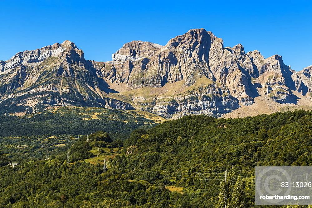 From left: Corona de Mallo, Parad & 2764m Telera (right) peaks, seen from Panticosa. Upper Tena Valley; Pyrenees; Huesca; Spain