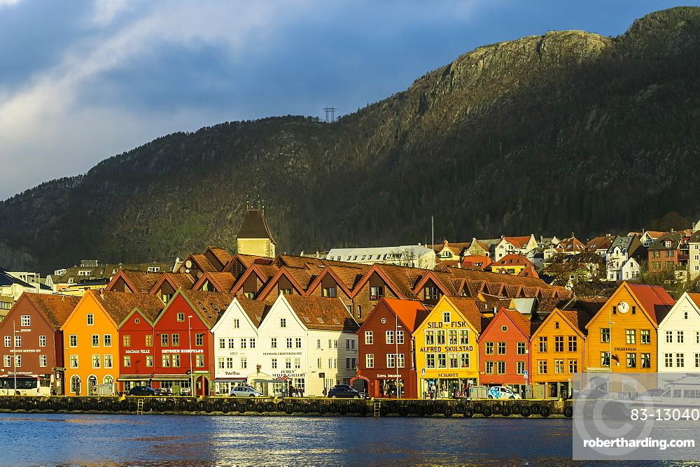 Hanseatic wooden waterfront commercial buildings of the Bryggen (the dock), UNESCO World Heritage Site, Bergen, Hordaland, Norway, Scandinavia, Europe