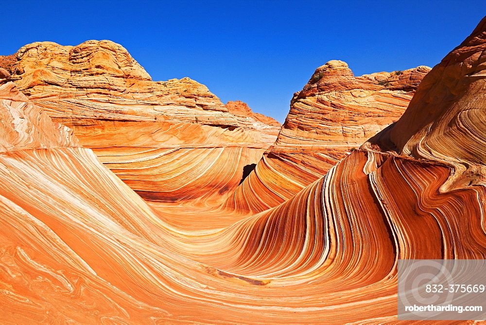 The Wave, rock formation in Coyote Buttes North, Paria Canyon-Vermilion Cliffs Wilderness, Utah, Arizona, USA