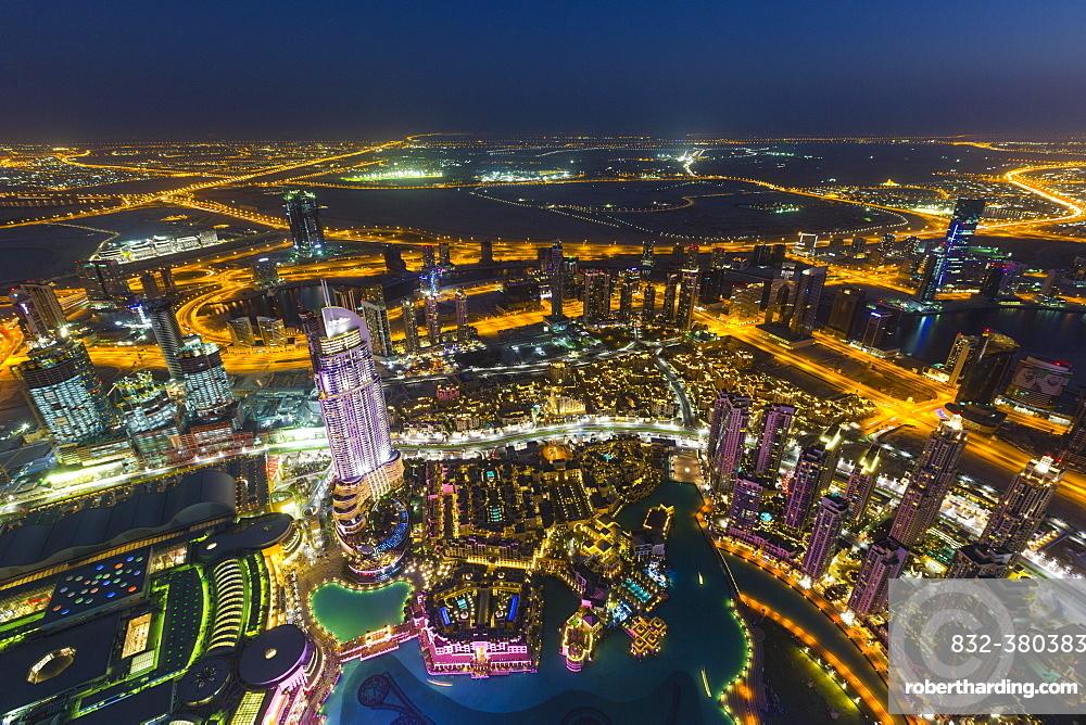 View from Burj Khalifa observation deck, Dubai Fountain, The Address Downtown Burj, Dubai Mall and Souk Al Bahar, night, Downtown Dubai, United Arab Emirates, Asia