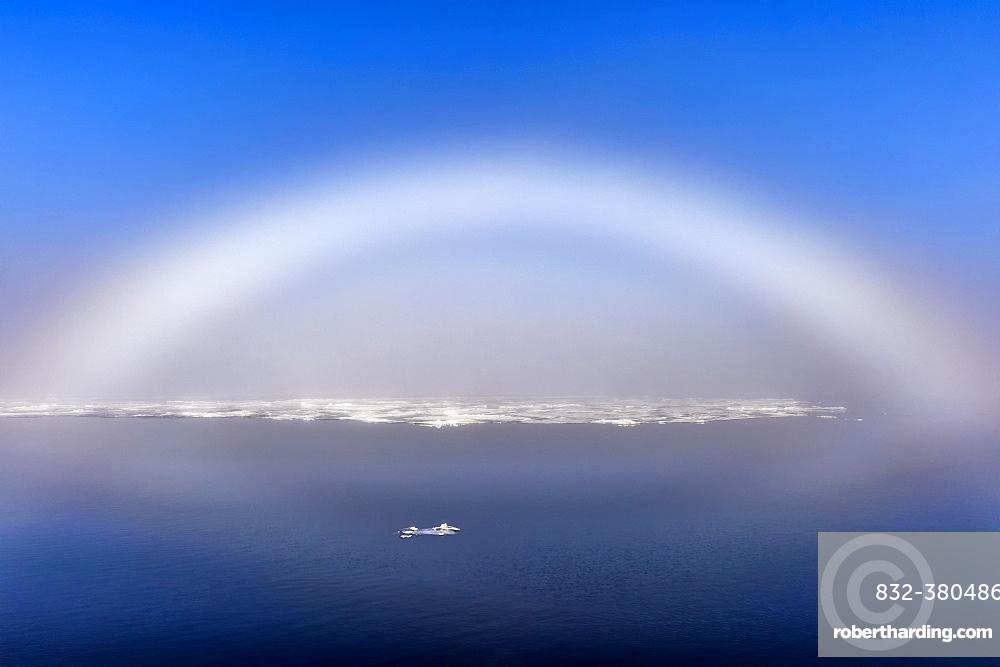 White Rainbow over the ice, Arctic Ocean, 81° North, Svalbard Archipelago, Norway, Europe