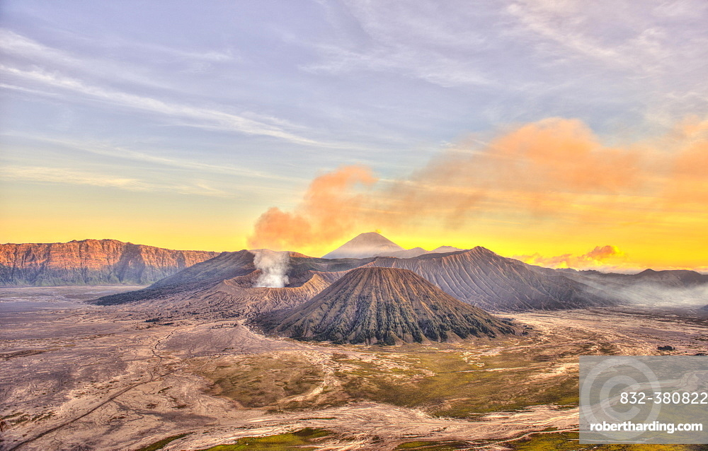 Sunset, smoking volcano Gunung Bromo, Mount Batok in front, Mount Kursi at back, Mount Gunung Semeru, Bromo Tengger Semeru National Park, Java, Indonesia, Asia