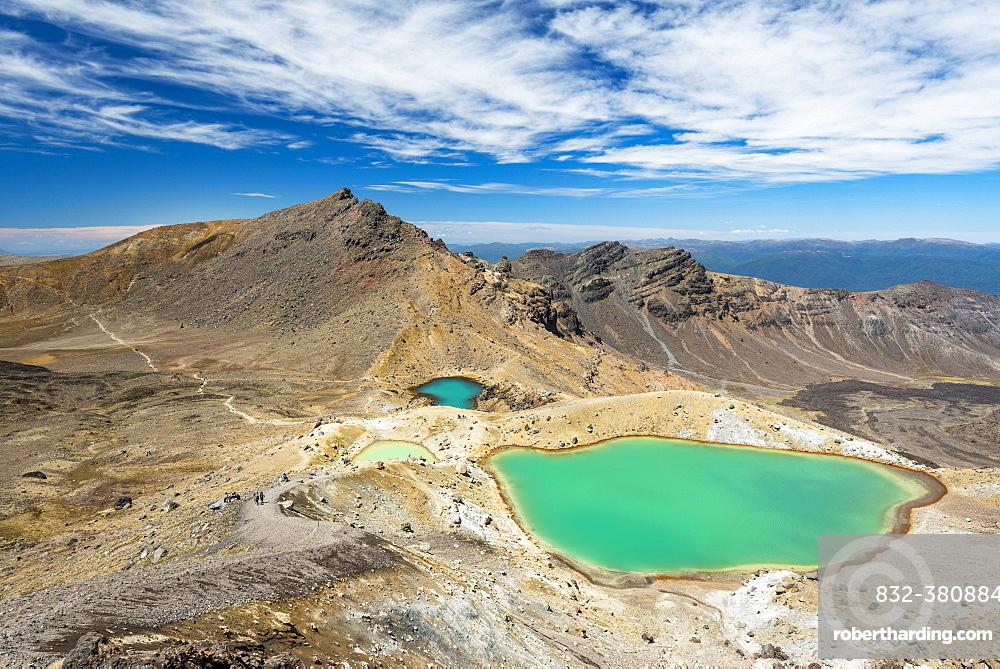 Emerald Lakes, crater lakes, volcanic landscape, Tongariro Alpine Crossing, Tongariro National Park, North Island, New Zealand, Oceania