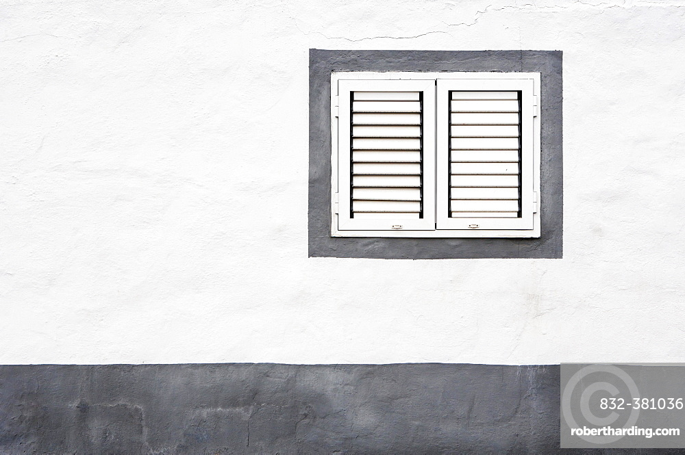 White House facade with closed windows, Ajuy, Fuerteventura, Canary Island, Spain, Europe