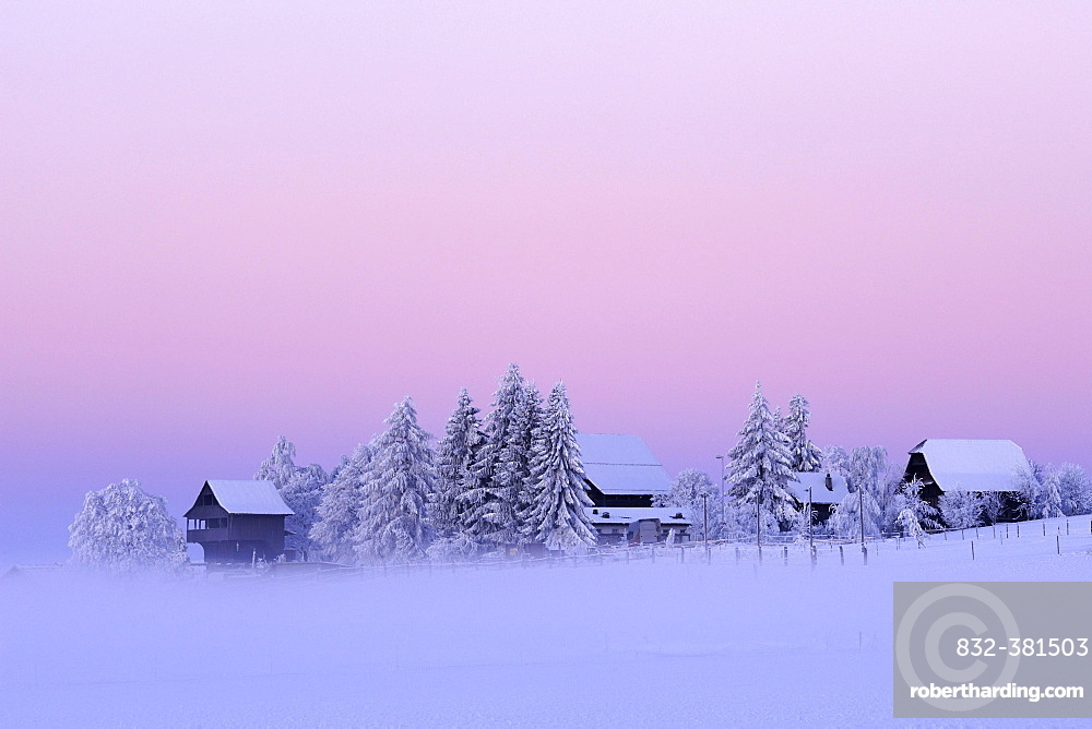 Winter mood at dawn with an old Spycher, or barn, in the foreground, Lindenberg, Aargau, Switzerland, Europe