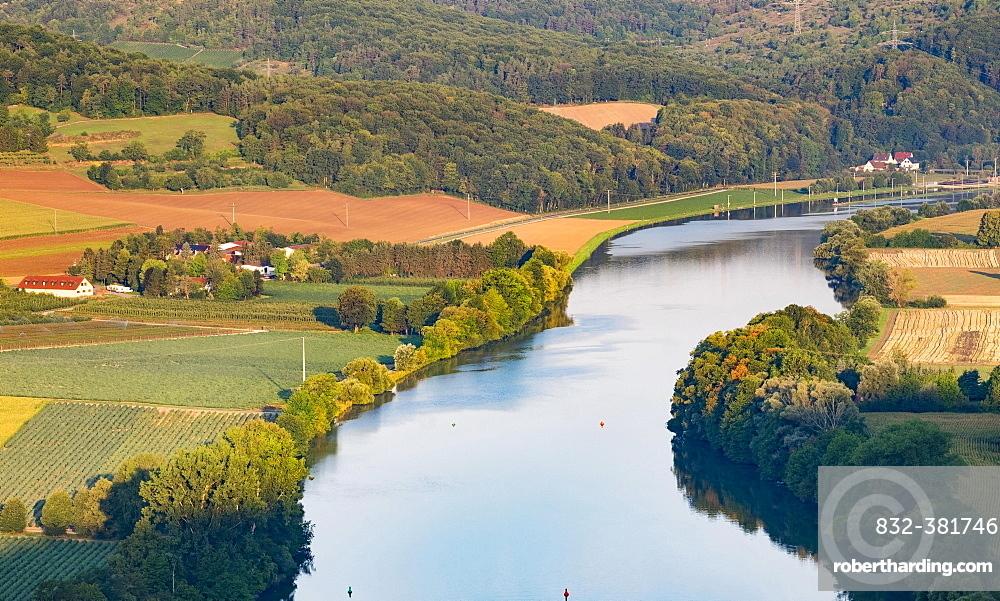 Main at Gambach seen from Grainberg, Karlstadt, Lower Franconia, Franconia, Bavaria, Germany, Europe
