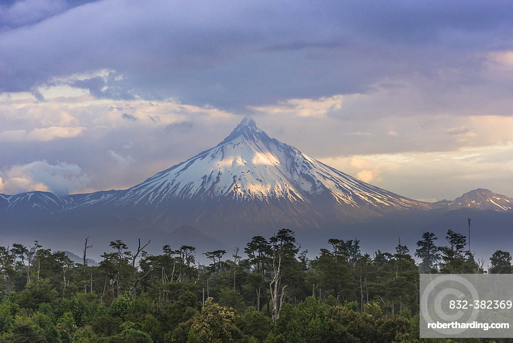 Puyehue volcano in the evening light, Puyehue, Los Lagos Region, Chile, South America