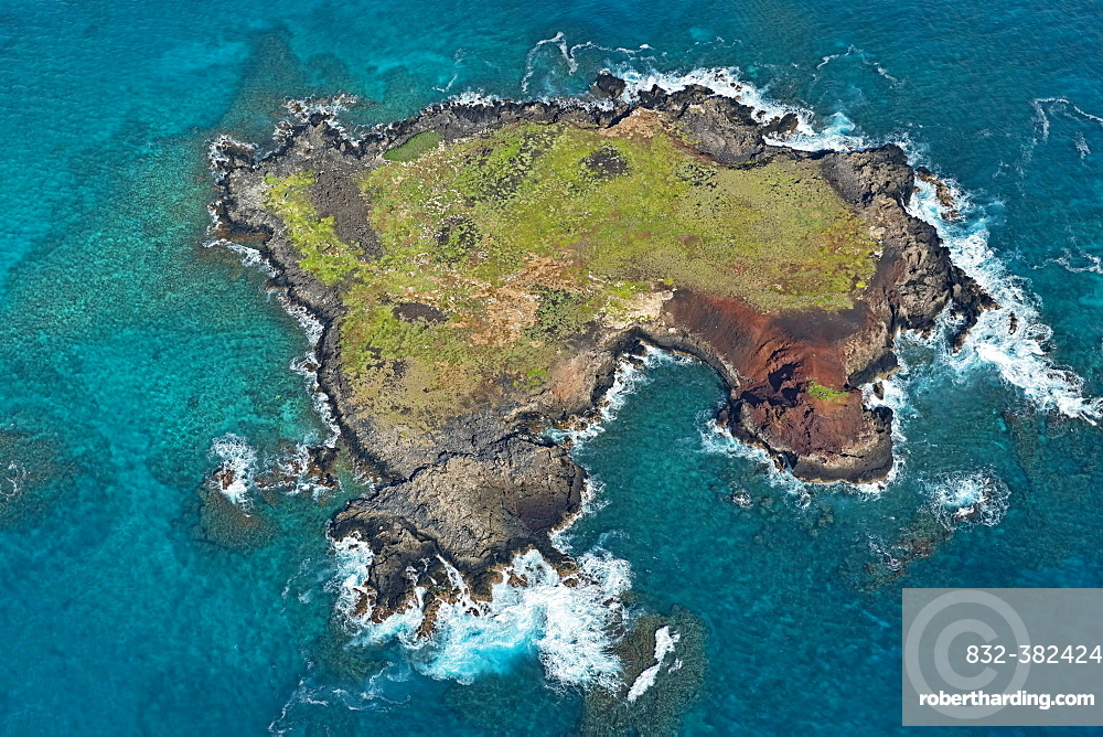 Aerial view, Kaohikaipu Island, Black Rock or Turtle Island, O'ahu, Hawaii, United States, North America