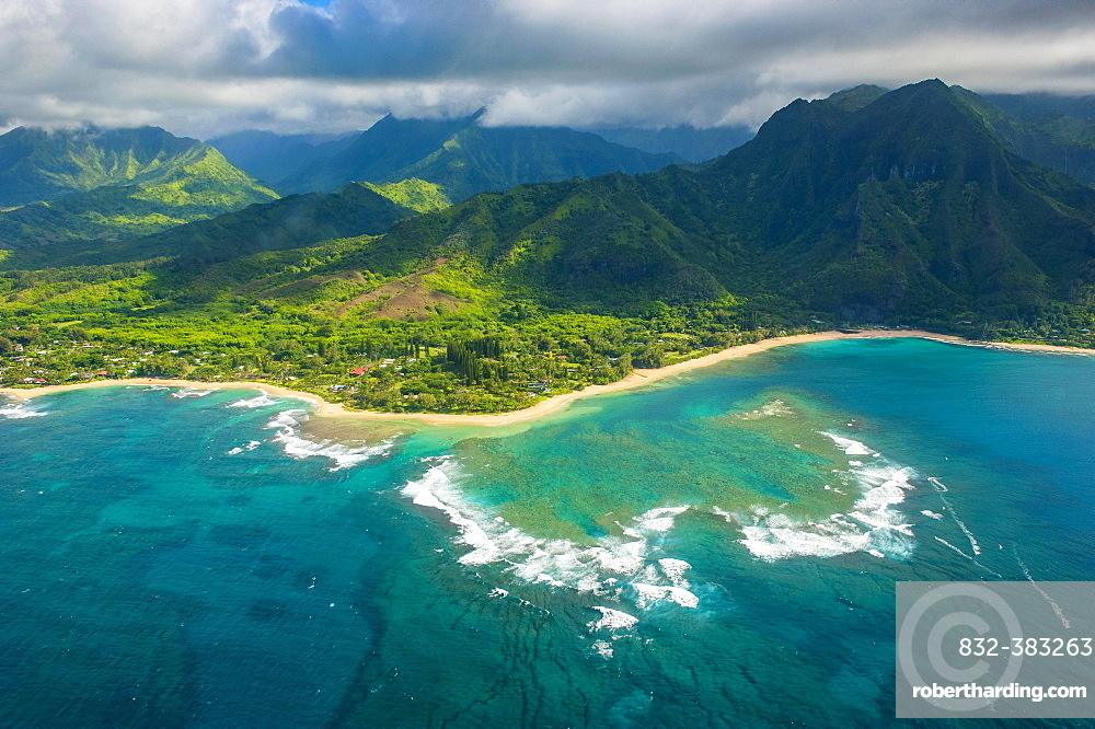 Aerial of the north shore of the island of Kauai, Hawaii, USA, North America