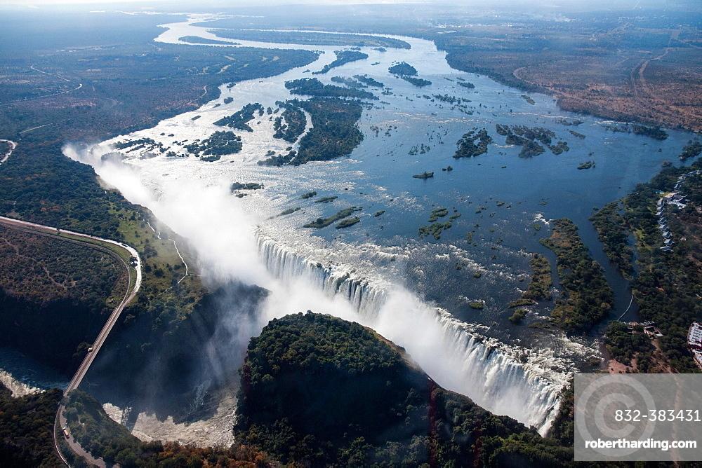 Aerial view, Victoria Falls with the Victoria Falls Bridge over the Zambezi River, Livingstone, Zambia, Africa