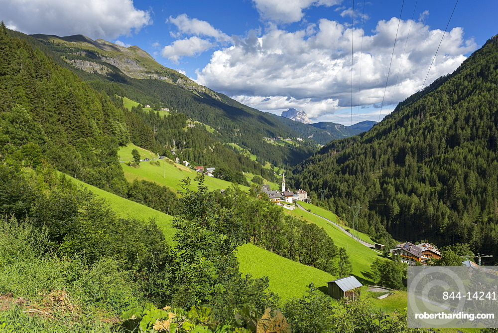 Countryside and mountains around Assekrem, Discepole del Vangelo near Arabba, Dolomites, South Tyrol, Italy, Europe