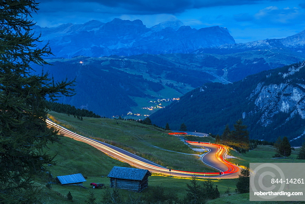 Traffic trail lights on Sella Pass, Province of Bolzano, South Tyrol, Italian Dolomites, Italy, Europe