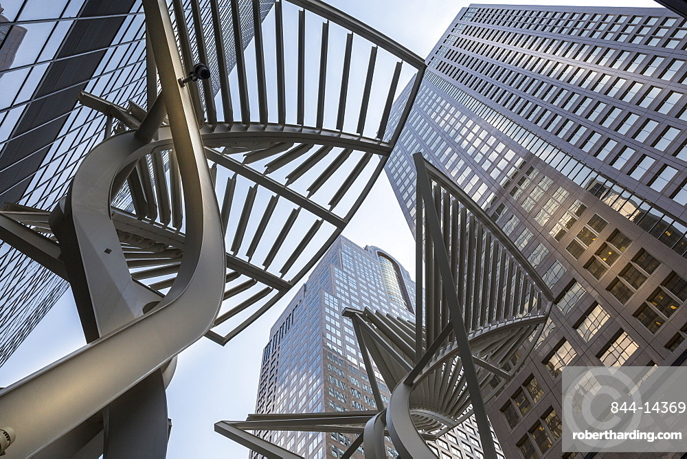 Sculpture and urban office buildings on Stephen Avenue Walk, Downtown, Calgary, Alberta, Canada, North America