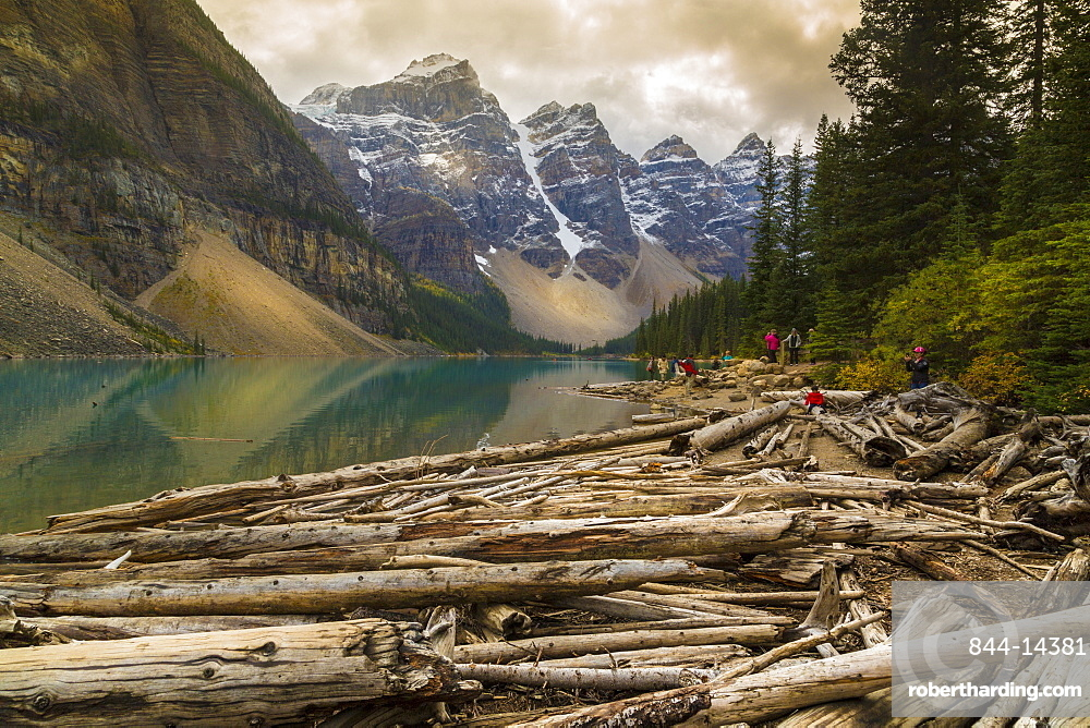 Stormy weather and visitors exploring at Moraine Lake, Banff National Park, Canadian Rockies Alberta, Canada, North America