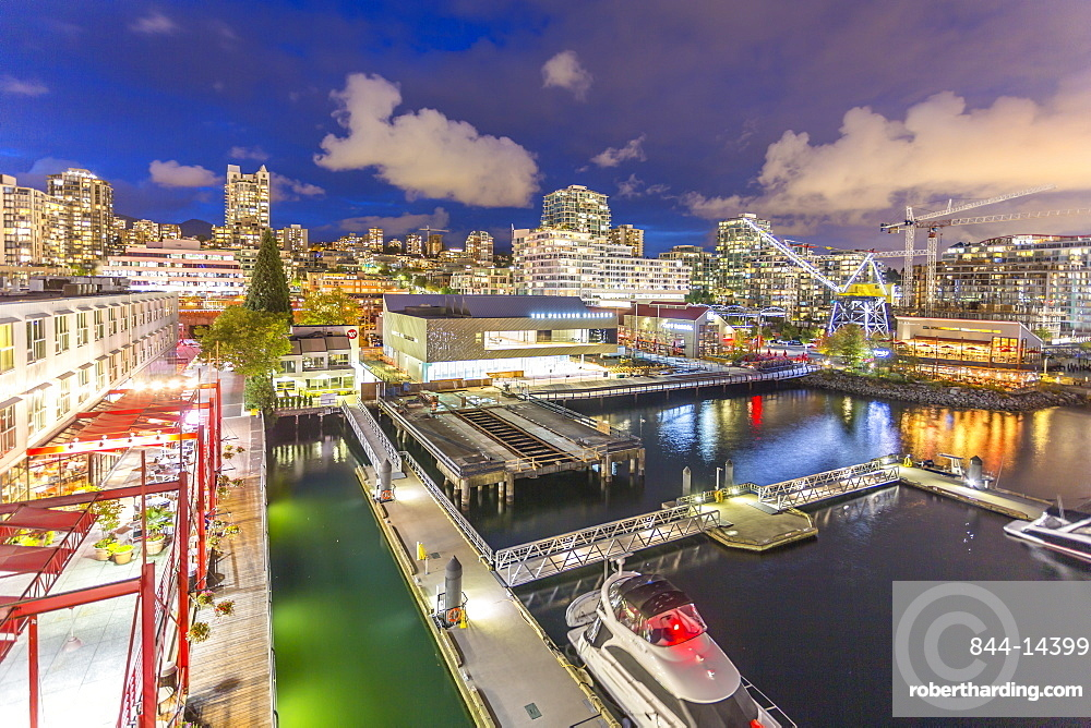 View of Lonsdale Quay in North Vancouver at dusk, British Columbia, Canada, North America