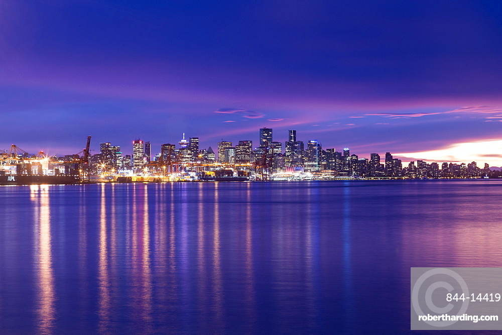 View of Vancouver Skyline from North Vancouver at sunset, British Columbia, Canada, North America
