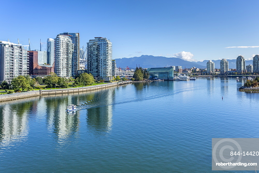 View of False Creek from Cambie Street Bridge and Vancouver skyline, Vancouver, British Columbia, Canada, North America