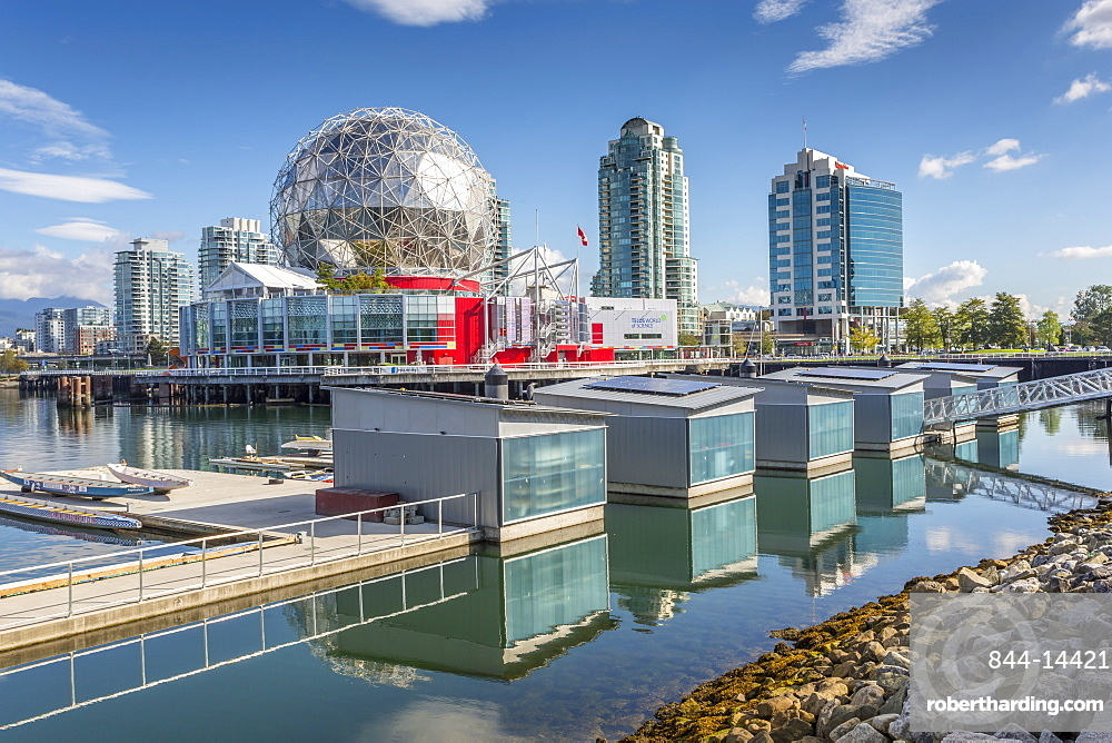 View of False Creek and Vancouver skyline, including World of Science Dome, Vancouver, British Columbia, Canada, North America
