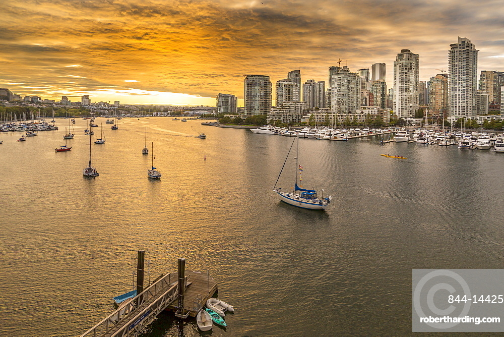 View of Vancouver skyline and False Creek as viewed from Cambie Street Bridge, Vancouver, British Columbia, Canada, North America