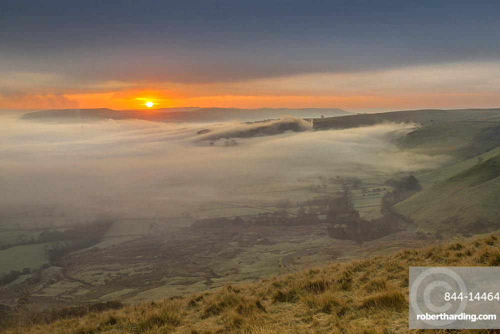 View from Mam Tor of fog in Hope Valley at sunrise, Castleton, Peak District National Park, Derbyshire, England, United Kingdom, Europe