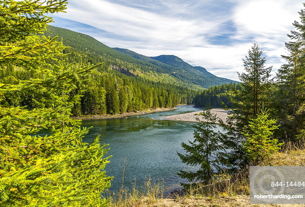 View of Clearwater River and meadows near Clearwater, British Columbia, Canada, North America