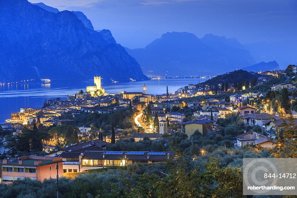 Elevated view of Castello Scaligero, Scaliger castle at dusk, Malcesine, Lake Garda, Veneto, Italian Lakes, Italy, Europe