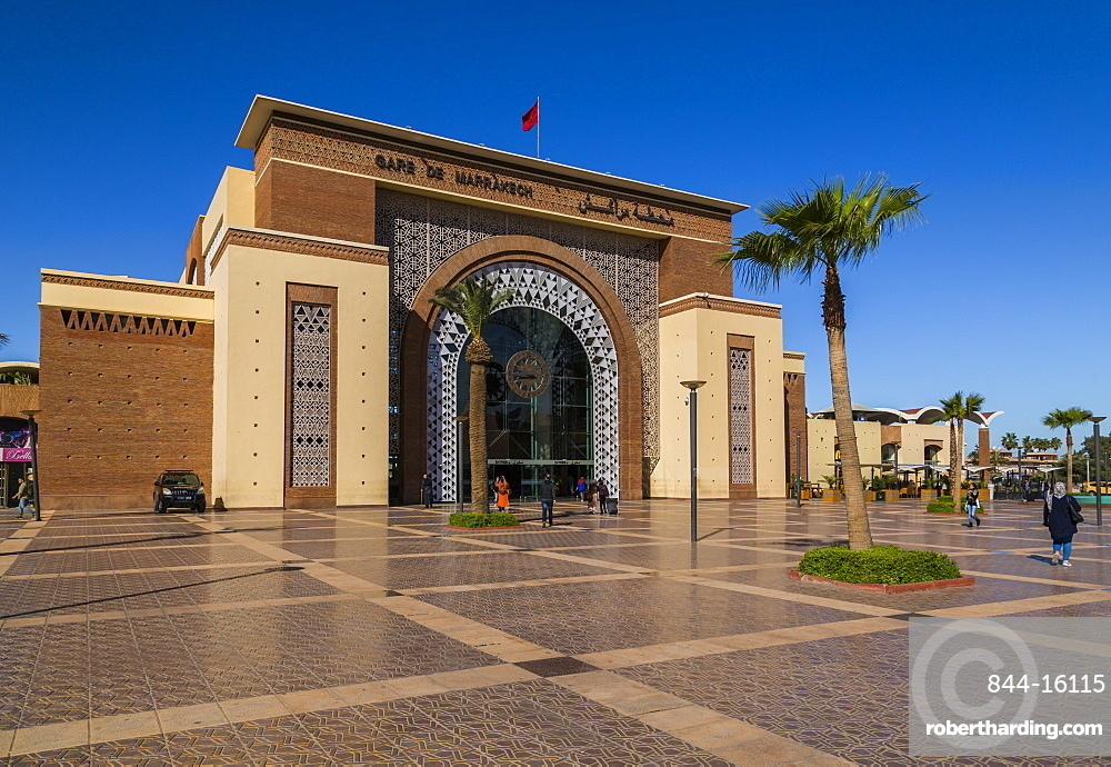 View of Train and Bus Station (Gare Train Oncfon) Avenue Mohammed VI, Marrakesh, Morocco, North Africa, Africa