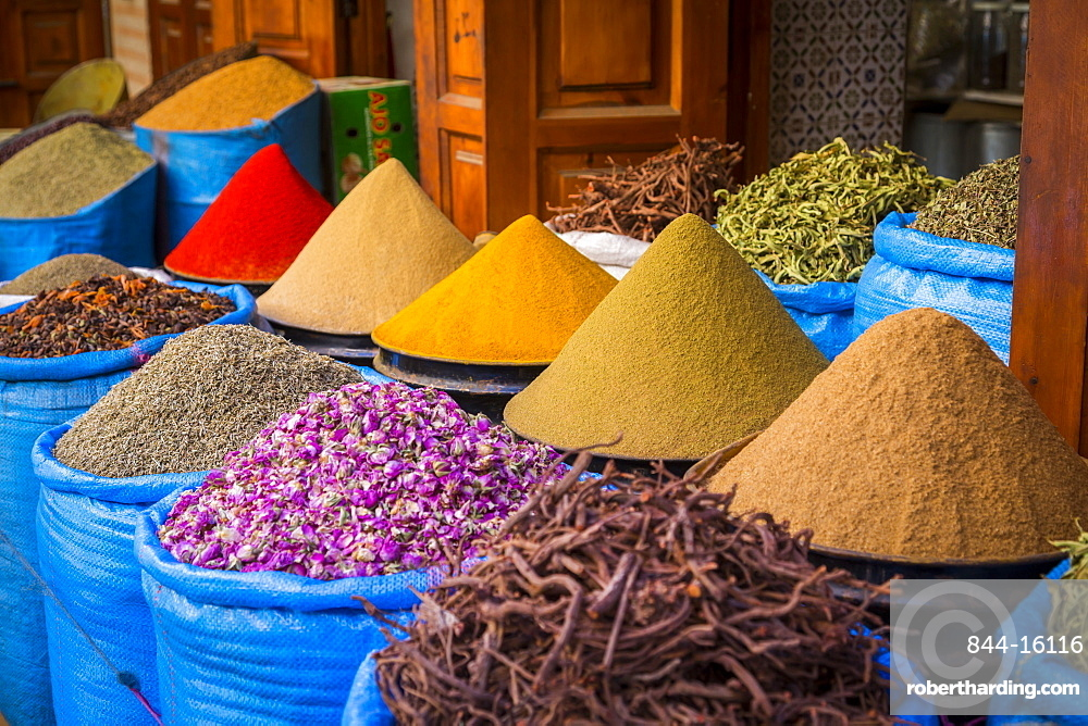Bags of herbs and spices for sale in souk in the old quarter, Medina, Marrakesh, Morocco, North Africa, Africa