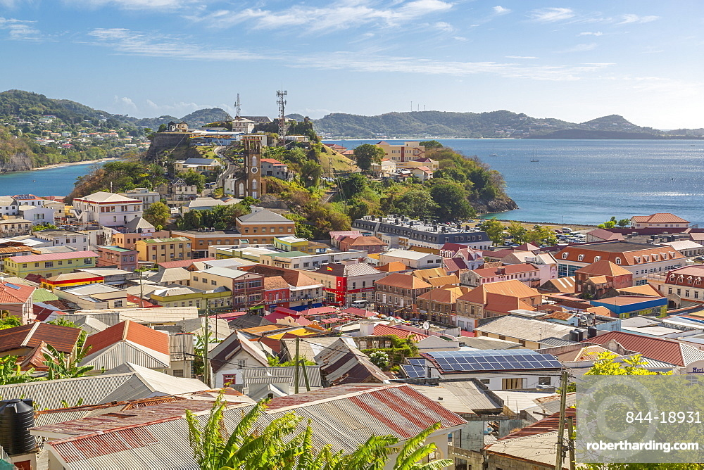 View of St. Georges town and Caribbean Sea, St. George's, Grenada, Windward Islands, West Indies, Caribbean, Central America