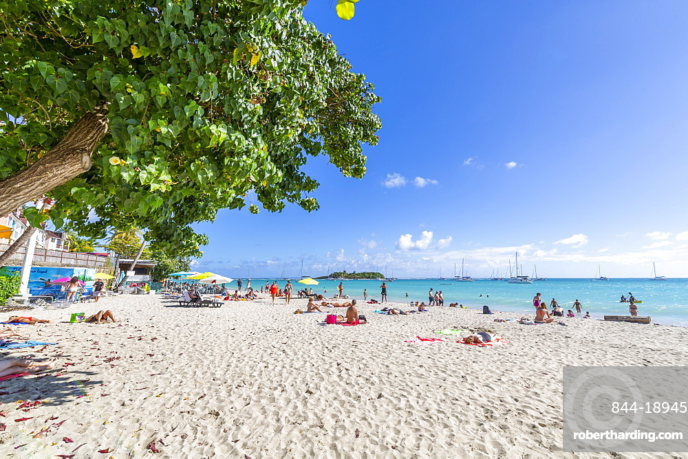 View of Phare Du Gosier from La Datcha Beach, Pointe-a-Pitre, Guadeloupe, French Antilles, West Indies, Caribbean, Central America