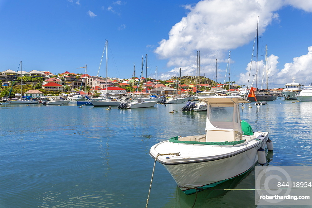 View of Fort Oscar and the harbour, Gustavia, St. Barthelemy (St. Barts) (St. Barth), West Indies, Caribbean, Central America